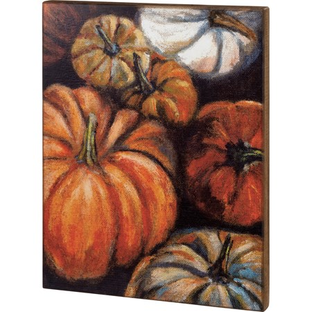 "Box Sign - Pumpkins - 20"" x 26"" x 1.75"" - Wood"