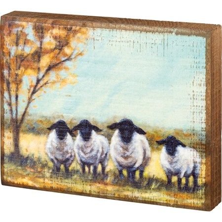 "Block Sign - Sheep - 6"" x 4.75"" x 1"" - Wood"