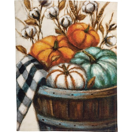 "Dish Towel - Pumpkin Basket - 20"" x 26"" - Cotton"