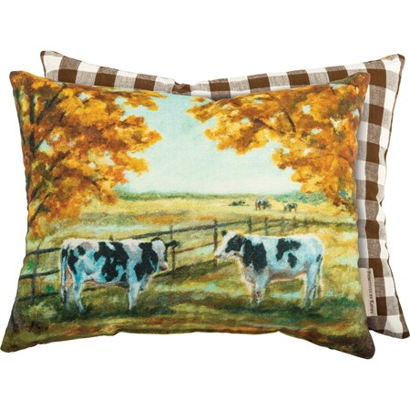 "Pillow - Cows - 15"" x 12"" - Cotton, Zipper"