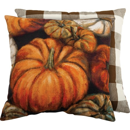 "Pillow - Pumpkins - 20"" x 20"" - Cotton, Zipper"