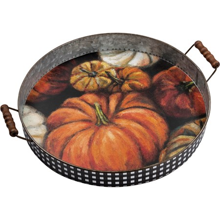 "Tray - Pumpkins - 17.50"" x 15.50"" x 3.75"" - Metal, Paper, Wood"