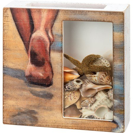 "Shell Holder - Sandy Toes - 10"" x 10"" x 2.50"" - Wood, Glass, Paper"