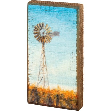 "Block Sign - Windmill - 3.50"" x 7"" x 1"" - Wood"