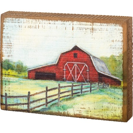 "Block Sign - Barn - 6"" x 4.50"" x 1"" - Wood"