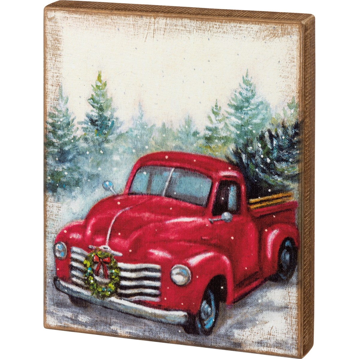 "Box Sign - Red Truck - 10.50"" x 13"" x 1.75"" - Wood"