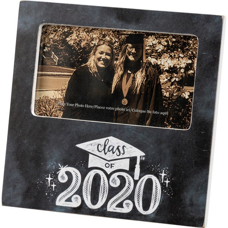 "Plaque Frame - Class Of 2020 - 6"" x 6"" x 0.50"", Fits 5"" x 3"" Photo - Wood, Paper, Glass, Metal"