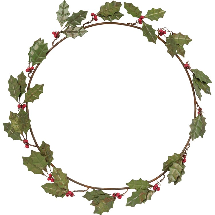 "Wreath - Holly Leaves - 14"" Outside Diameter - Metal, Wire, Wood"
