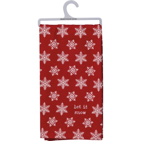 "Dish Towel -  Let It Snow - 20"" x 26"" - Cotton, Linen"