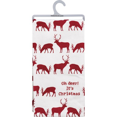 "Dish Towel -  Oh Deer It's Christmas - 20"" x 26"" - Cotton, Linen"