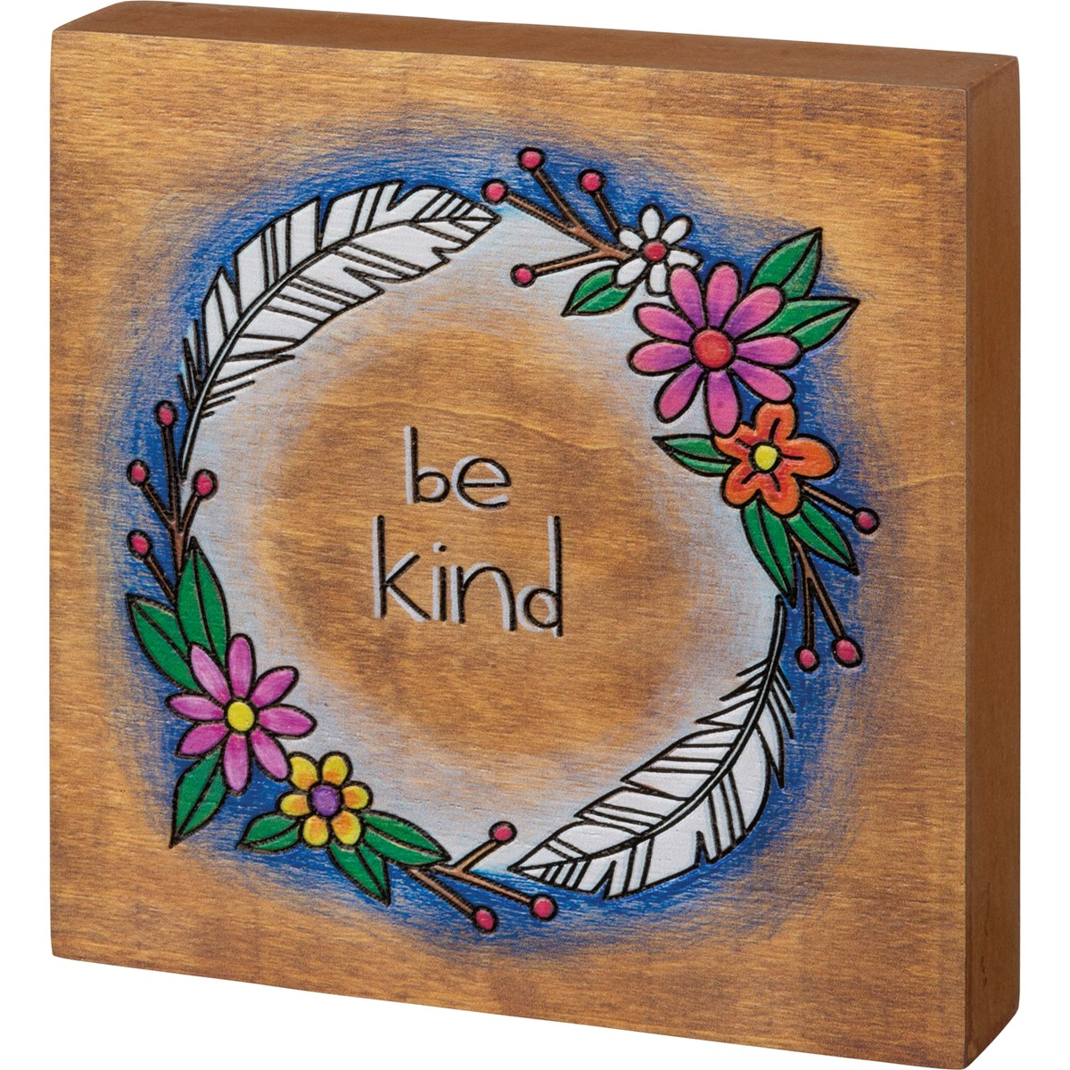 "Block Sign - Be Kind - 5.50"" x 5.50"" x 1"" - Wood, Paper"