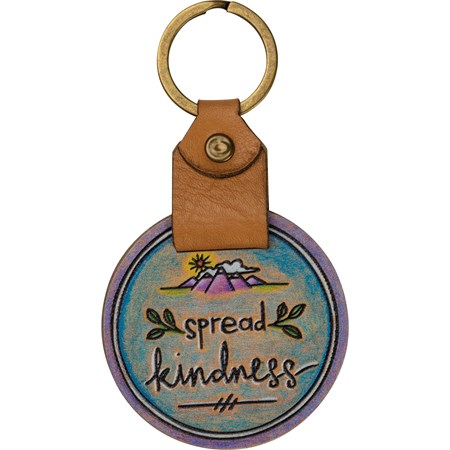 "Keychain - Spread Kindness - 2"" x 3.50"" - Wood, Leather, Metal"