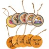 "Tokens - Inspiration - 3"" Diameter - Wood, Jute, Fabric"