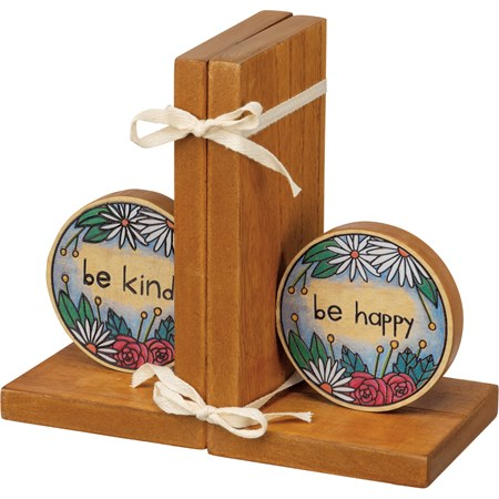 "Bookends - Be Kind Be Happy - 4"" x 7"" x 4"" - Wood"