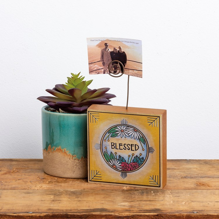 "Photo Block - Blessed - 4"" x 4"" x 1"", Plus Wire - Wood, Wire"
