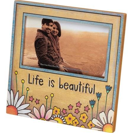 "Plaque Frame - Life Is Beautiful - 6"" x 6"" x 0.25"", Fits 5"" x 3"" Photo - Wood, Paper, Glass, Metal"