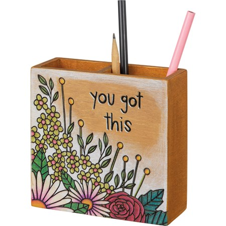 "Pencil Holder - You Got This - 5.25"" x 5.25"" x 1.75"" - Wood"