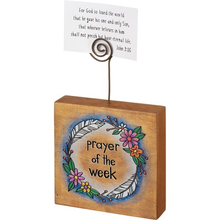 "Photo Block - Prayer Of The Week - 4"" x 4"" x 1"", Plus Wire - Wood, Wire"