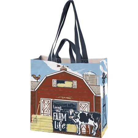 "Market Tote - Living The Farm Life - 15.50"" x 15.25"" x 6"" - Post-Consumer Material, Nylon"