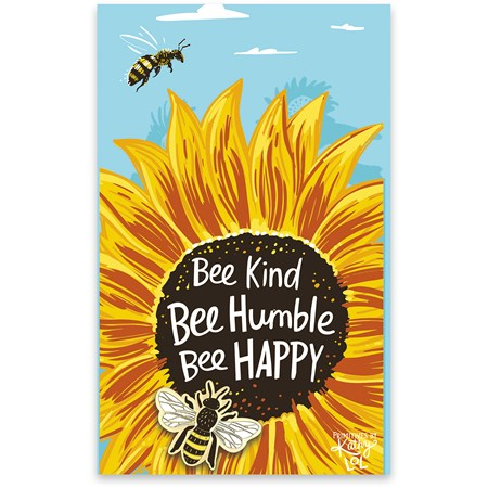 "Enamel Pin - Bee Kind Bee Humble Bee Happy - Pin: 1"" x 1"", Card: 3"" x 5"" - Metal, Enamel, Paper"