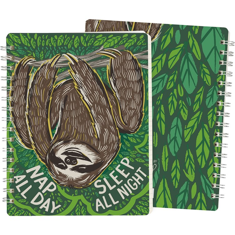 "Spiral Notebook - Nap All Day Sleep All Night - 5.75"" x 7.50"" x 0.50"" - Paper, Metal"