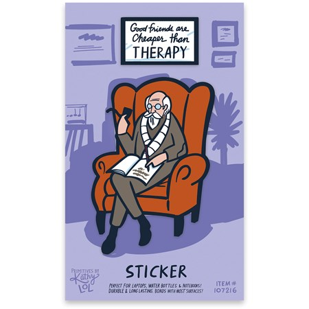 "Sticker - Cheaper Than Therapy - 2"" x 3"", 1.50"" x 1"", Card: 3"" x 5"" - Viynl, Paper"