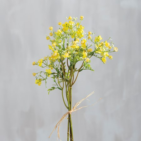 "Bouquet - Yellow Wildflower - 15"" Tall - Plastic, Fabric, Wire"