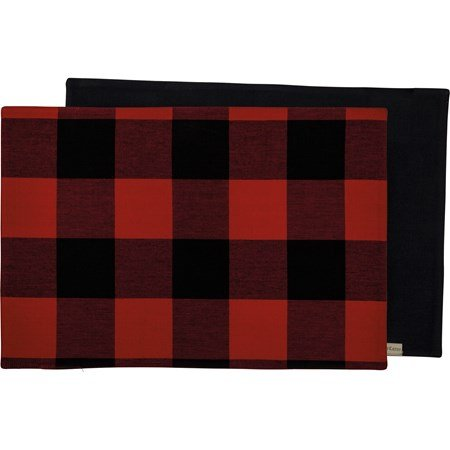 "Placemat - Red And Black Buffalo Check - 19"" x 13"" - Cotton"