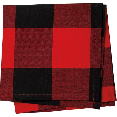 "Napkin - Red And Black Buffalo Check - 15"" x 15"" - Cotton"