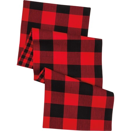 "Runner - Red And Black Buffalo Check - 56"" x 15"" - Cotton"