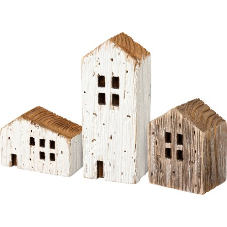 "Sitter Set - Rustic Houses - 2"" x 5"" x 1.50"", 3"" x 2"" x 1.50"", 2.25"" x 2.75"" x 1.50"" - Wood"