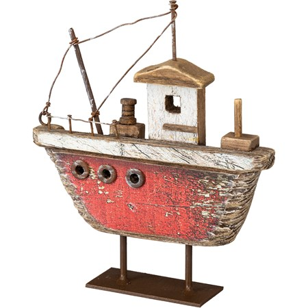 "Sitter - Fishing Boat Red - 5.50"" x 6.25"" x 1.50"" - Wood, Metal, Wire"