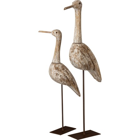 "Sitter Set - Herons - 9.75"" x 18.75"" x 3"", 6.25"" x 14.25"" x 3"" - Wood, Metal"