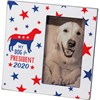 "Plaque Frame - My Dog For President 2020 - 6"" x 6"" x 0.50"", Fits 3"" x 5"" Photo - Wood, Glass, Metal"