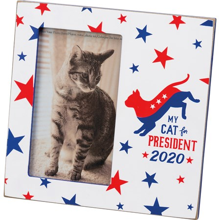 "Plaque Frame - My Cat For President 2020 - 6"" x 6"" x 0.50"", Fits 3"" x 5"" Photo - Wood, Glass, Metal"