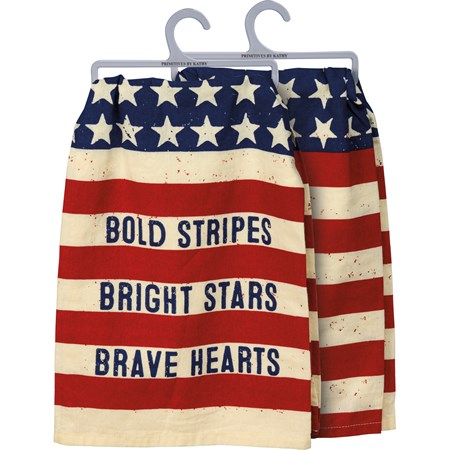 "Dish Towel - Bold Stripes Bright Stars - 28"" x 28"" - Cotton"