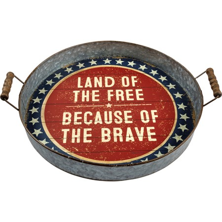 "Tray - Land Of The Free Because Of The Brave - 16"" x 15.25"" x 2"" - Metal, Paper, Wood"