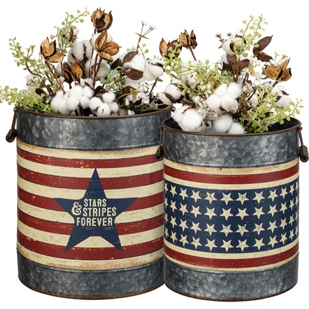 "Bucket Set - Stars & Stripes - 11.50"" Diameter x 13"", 9.75"" Diameter x 11.75"" - Metal, Paper, Wood"
