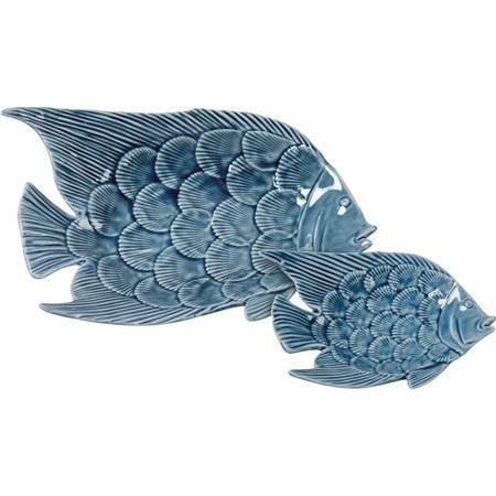 "Trinket Tray Set - Fish - 8.50"" x 5.75"" x 1.75"", 5.25"" x 3.50"" x 1"" - Ceramic"