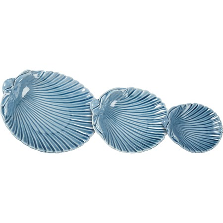 "Trinket Tray Set - Shell - 7.25"" x 6.50"" x 1.50"", 5.75"" x 5.25"" x 1.25"", 4.25"" x 3.75"" x 1"" - Ceramic"