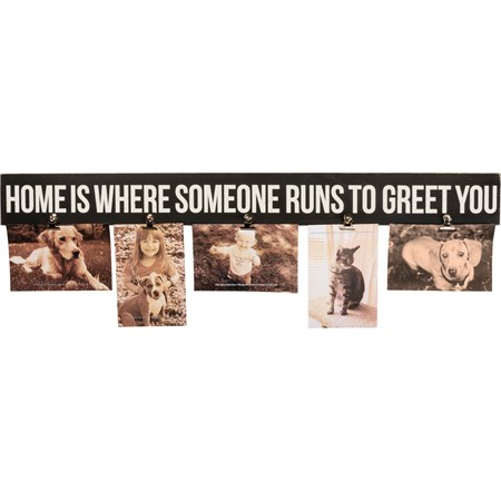 "Photo Clip Bar - Home Is Where Someone Runs To You - 28.50"" x 3"" x 0.50"", Fits 5 6"" x 4"" Photos - Wood, Metal"