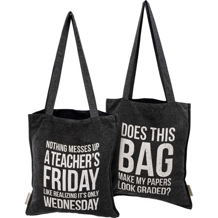 "Tote - Realizing It's Only Wednesday - 14"" x 15.50"", 12"" Handle Drop - Cotton"