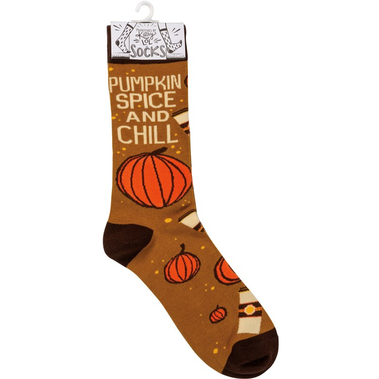 Socks - Pumpkin Spice And Chill - One Size Fits Most - Cotton, Nylon, Spandex
