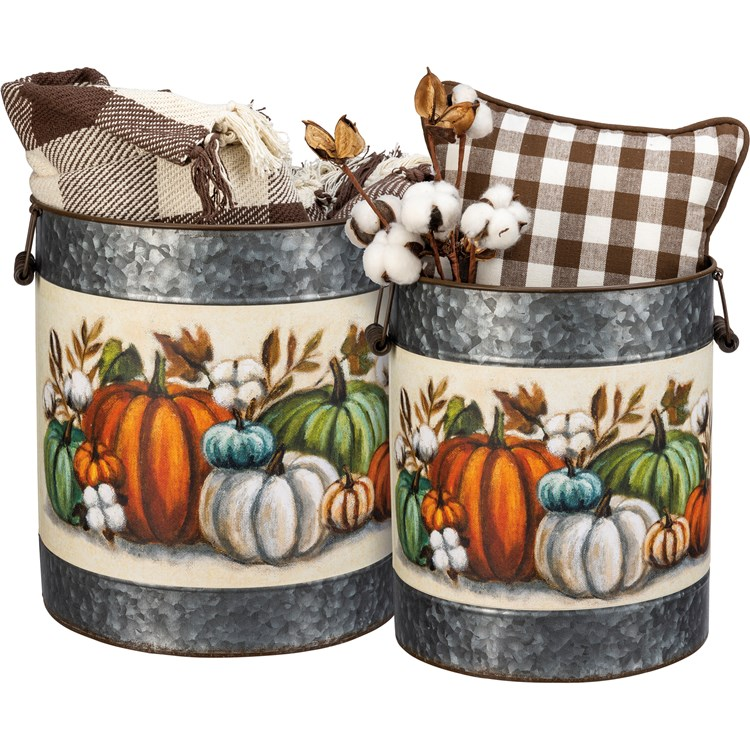 "Bucket Set - Pumpkins - 11"" Diameter x 13"", 9.75"" Diameter x 11.75"" - Metal, Paper, Wood"