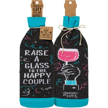 "Bottle Sock - Raise A Glass To The Happy Couple - 3.50"" x 11.25"", Fits 750mL to 1.5L bottles - Cotton, Nylon, Spandex"