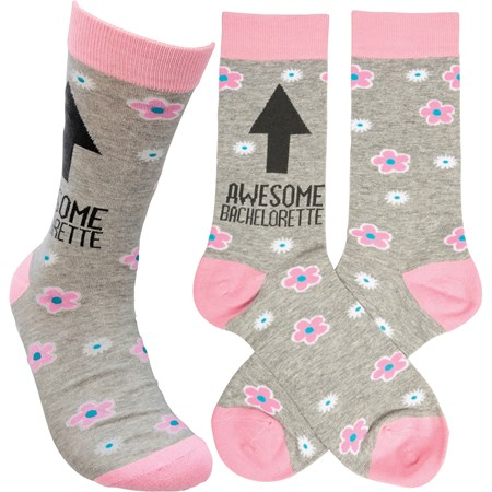 Socks - Awesome Bachelorette - One Size Fits Most - Cotton, Nylon, Spandex