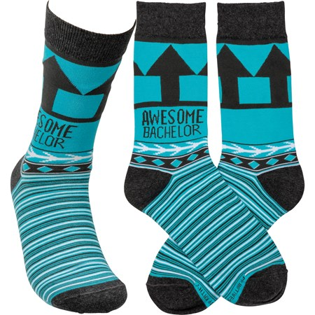 Socks - Awesome Bachelor  - One Size Fits Most - Cotton, Nylon, Spandex