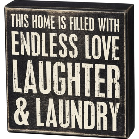 "Box Sign - This Home Is Filled With Endless Love - 8"" x 8.25"" x 1.75"" - Wood"