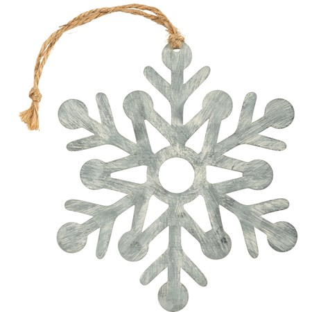 "Hanging Decor - Sm Snowflake - 7"" x 7.75"" - Metal, Jute"