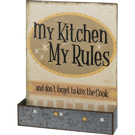 "Magnet Board - My Kitchen My Rules - 15.50"" x 20"" x 3.50"", 5 Magnets included - Metal, Magnet, Paper"